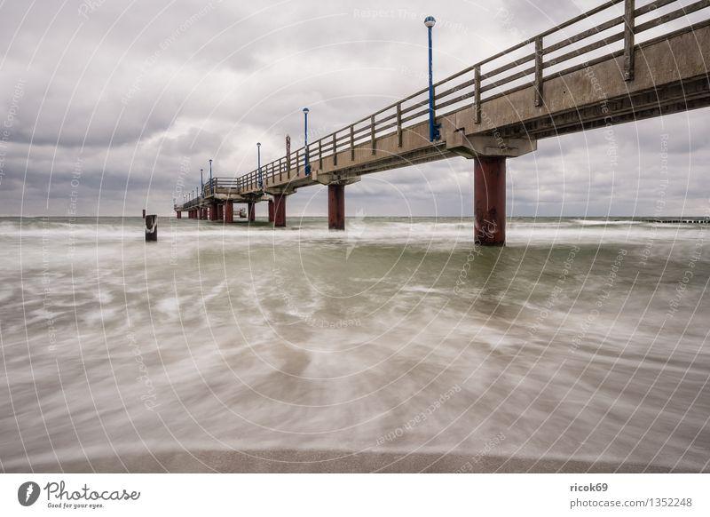 Zingst Natur Ferien & Urlaub & Reisen blau Wasser Meer Landschaft ruhig Wolken Strand Winter kalt Architektur Küste Tourismus Idylle Frost