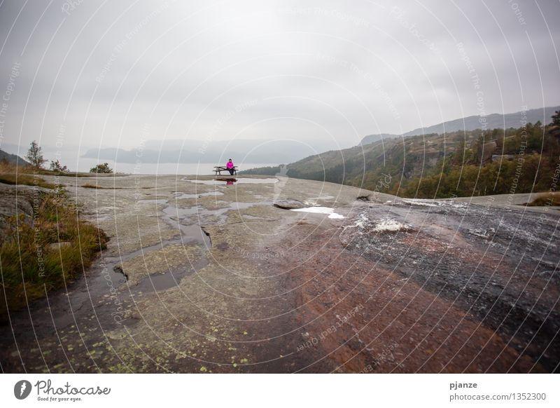 Pause am Wasserfall Berge u. Gebirge wandern Mensch feminin Frau Erwachsene 1 30-45 Jahre Natur Landschaft Wolken Herbst schlechtes Wetter Wind Nebel Regen Baum