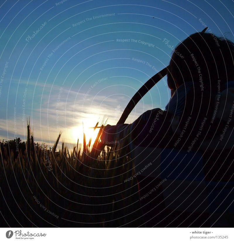 Komm zu Papa Mensch Himmel blau weiß grün rot Sonne Wolken gelb Feld beobachten violett Getreide Jagd Pfeile gestreift