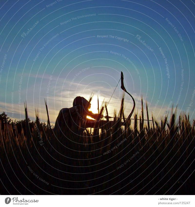 Auf der Jagd Mensch Himmel blau weiß grün Baum rot Sonne Wolken gelb Sicherheit beobachten violett Getreide Konzentration Pfeil