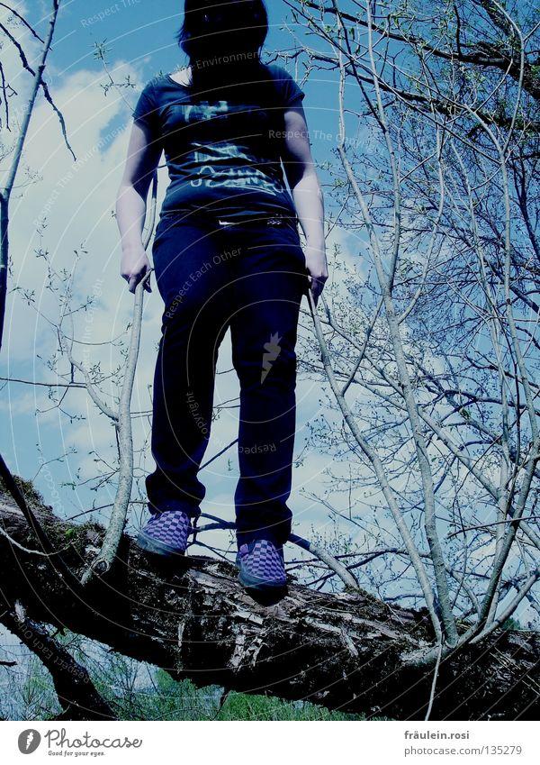 ...and tonight she will be crying Wolken dunkel springen Frühling Angst hoch fallen Ast festhalten Baumstamm Panik bleich durcheinander Hardcore Tränen