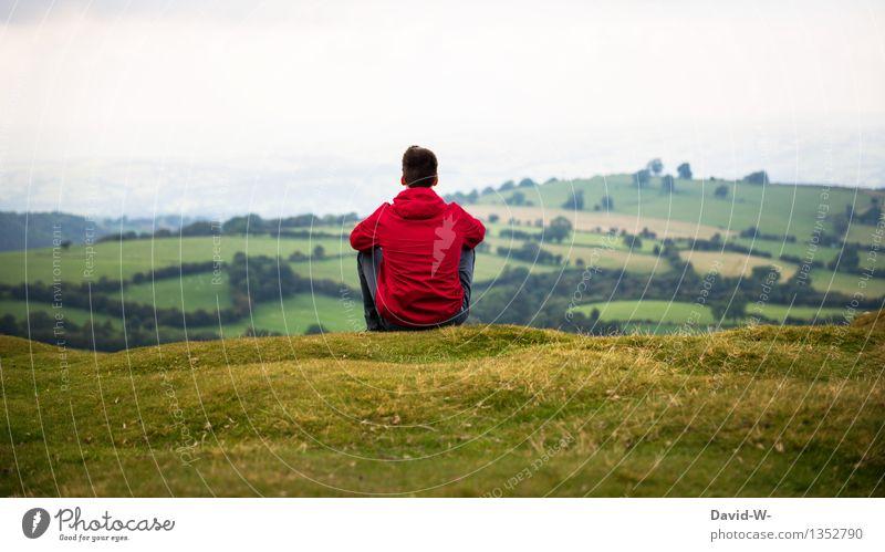 red jacket Mensch Natur Jugendliche Mann grün Junger Mann Landschaft rot Erholung ruhig Ferne Erwachsene Umwelt Leben Wiese Herbst