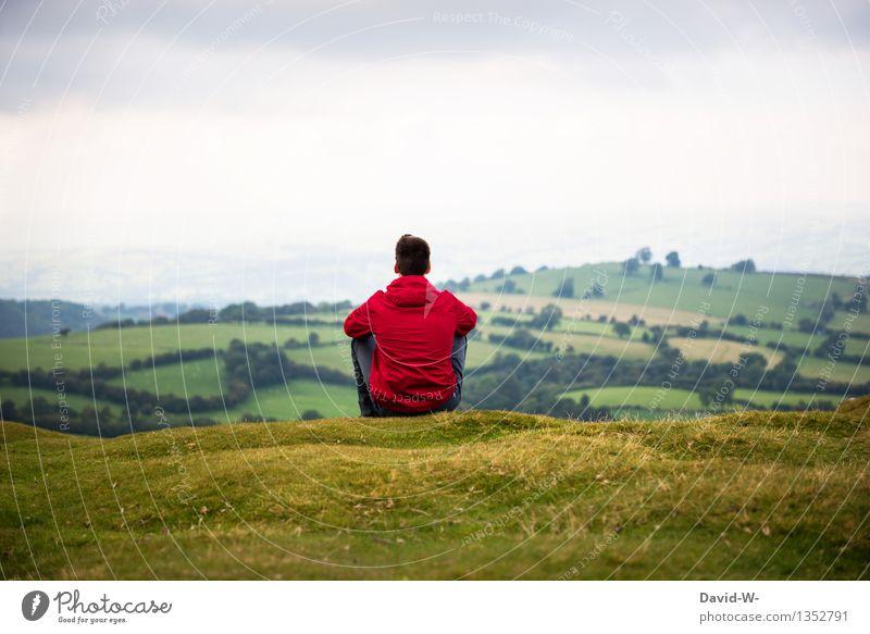 Rückansicht Mensch Natur Ferien & Urlaub & Reisen Mann Landschaft Erholung ruhig Ferne Erwachsene Leben Umwelt Wiese Freiheit Ausflug Zufriedenheit maskulin