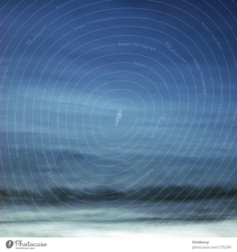 no air Luft atmen Wolken Schleier trüb Meer Stil gemalt Verlauf unklar ruhig Erholung Gefühle Trauer Verzweiflung Strand Küste Lomografie Himmel Klima