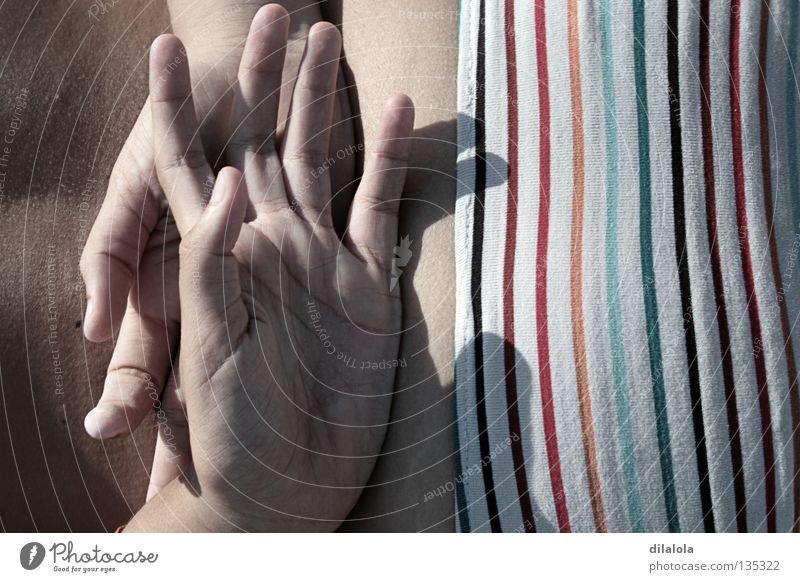 hands Strand Sommer Erholung Bikini Spanien Hand Frieden schön sun spain back fingers Strand Rücken
