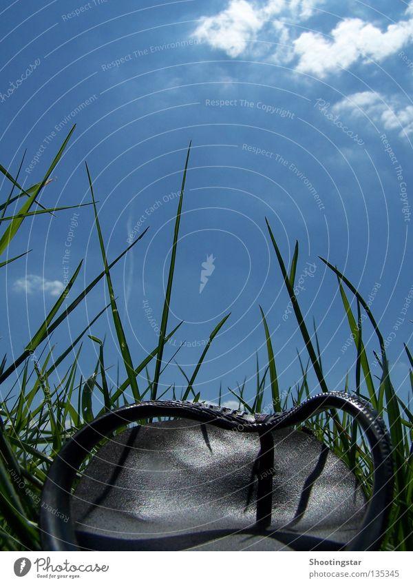 go off grün blau Sommer Ferien & Urlaub & Reisen ruhig Wiese Gras Schuhe gehen laufen Pause stehen liegen Flipflops himmelwärts