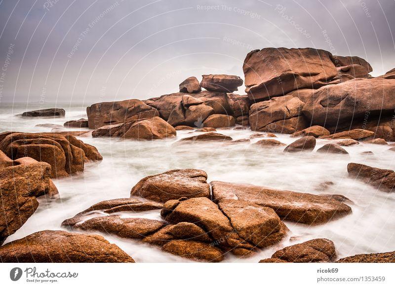 Atlantikküste in der Bretagne Natur Ferien & Urlaub & Reisen Erholung Meer Landschaft Wolken Küste Stein Felsen Tourismus Sehenswürdigkeit Frankreich Atlantik Granit Attraktion Bretagne