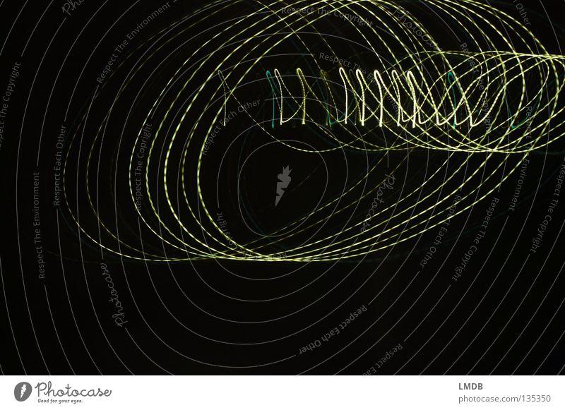 - - - @ - - - blau grün Farbe dunkel schwarz gelb Bewegung Lampe Schriftzeichen Kreis Streifen Information schreiben drehen Spirale Scheinwerfer