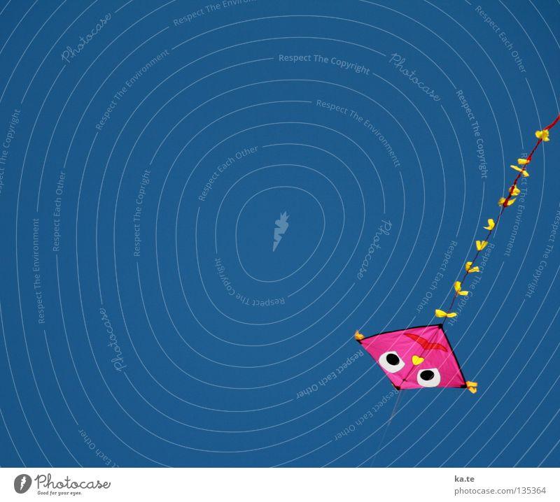 an der Leine Drache rosa Schleife mehrfarbig Fröhlichkeit gebunden Halt flattern Luft Absturz Blick nach unten oben Kinderspiel Freizeit & Hobby Strand Meer
