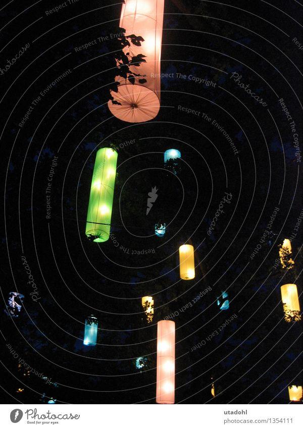 Laternenparade Dekoration & Verzierung Feste & Feiern Kunst Veranstaltung Baum elegant hell schön blau mehrfarbig gelb grün rosa schwarz ästhetisch