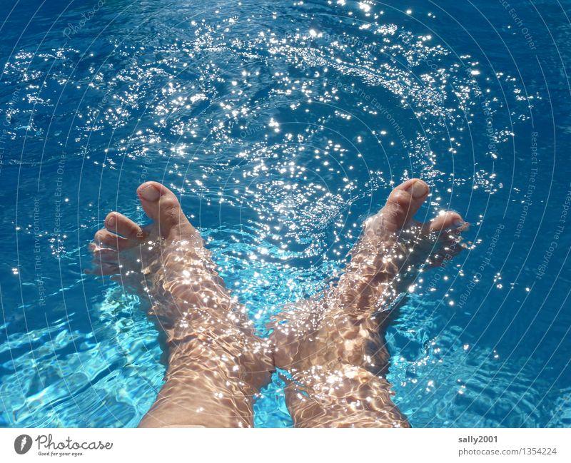 Aquagymnastik... Ferien & Urlaub & Reisen Sommer Sommerurlaub Sonne Sonnenbad Schwimmen & Baden Fuß 1 Mensch Bewegung Erholung genießen Spielen Glück nass blau