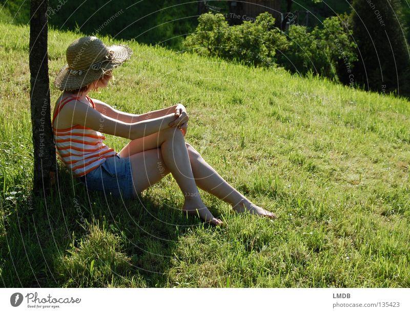 Ausspannen und die Natur genießen Mensch Baum grün Sommer Erholung Wiese Gras Fuß Denken braun Arme wandern sitzen Jeanshose Pause Aussicht