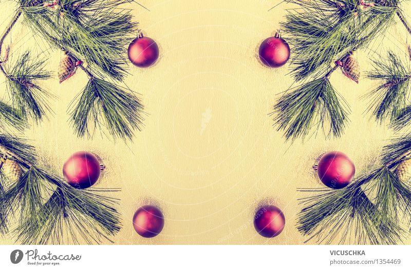 Weihnacht Hintergrund mit Kugeln und Tannenbaum Weihnachten & Advent Winter Stil Hintergrundbild Feste & Feiern Design Dekoration & Verzierung Ast Tradition