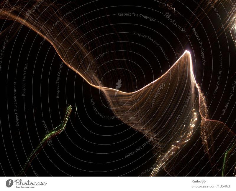 Abstrakt abstrakt durcheinander Misserfolg dunkel seltsam Nacht Feuerwerk Linie Wellenlinie