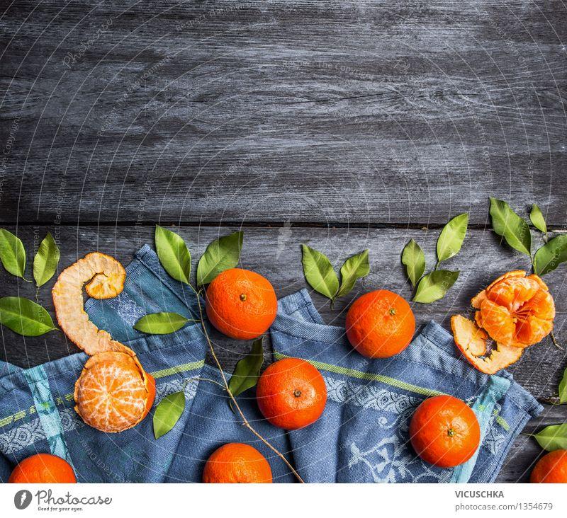 Border von Mandarinen mit Blättern Natur Gesunde Ernährung Blatt gelb Leben Foodfotografie Stil Hintergrundbild Lebensmittel Frucht orange Design frisch Tisch