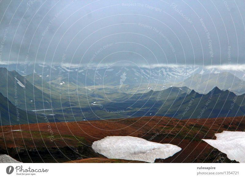 Island #4 Natur Ferien & Urlaub & Reisen Landschaft Wolken Ferne Berge u. Gebirge Schnee Freiheit Regen Wetter wandern Aussicht Insel Abenteuer Hügel