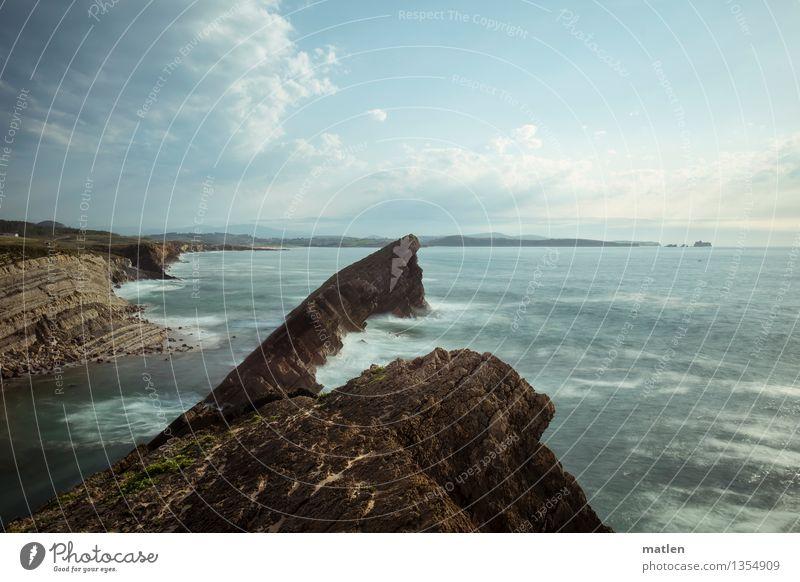 slash von gestern von oben Umwelt Natur Landschaft Wasser Himmel Wolken Horizont Wetter Schönes Wetter Wind Hügel Felsen Wellen Küste Riff Meer wild blau braun