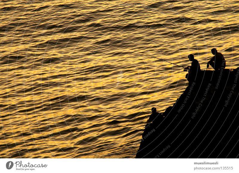 Fisherman's friends Mensch Mann Sonne Meer Einsamkeit schwarz gelb dunkel Küste Felsen Insel Fisch Romantik Angeln Klippe Portugal