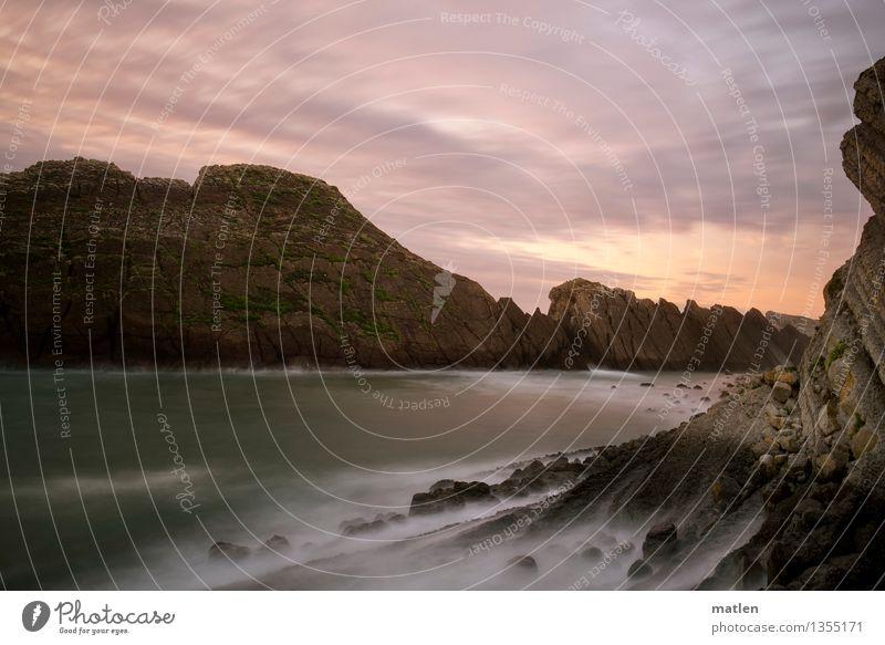 bay Himmel Natur grün weiß Meer Landschaft Wolken Strand Küste grau braun Felsen rosa Horizont Wetter Wellen