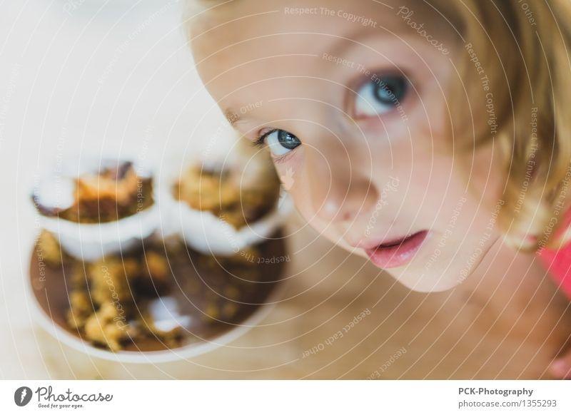 muffin feminin Kind Kleinkind Mädchen Familie & Verwandtschaft Kindheit 3-8 Jahre 8-13 Jahre Essen genießen Muffin entwenden Schokoladenkuchen Blick lieblich