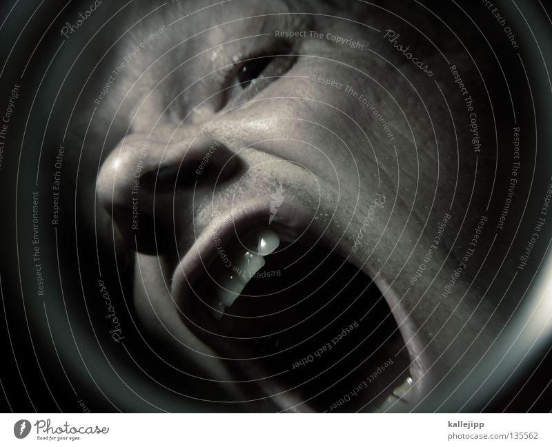 tunnelblick Mann dental Zahnarzt schreien vergrößert Zoomeffekt Optiker Pupille Angst Rauschmittel Tunnel Fischauge Mensch Gesicht Kopf Mund Nase Lupe Linse