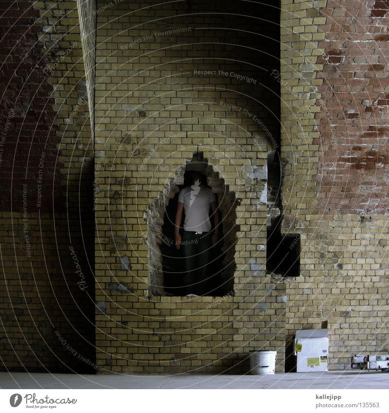 eingemauert Mensch Mann Mauer Religion & Glaube Architektur Lifestyle Sicherheit offen Baustelle Backstein Dienstleistungsgewerbe Loch heilig gefangen Märchen