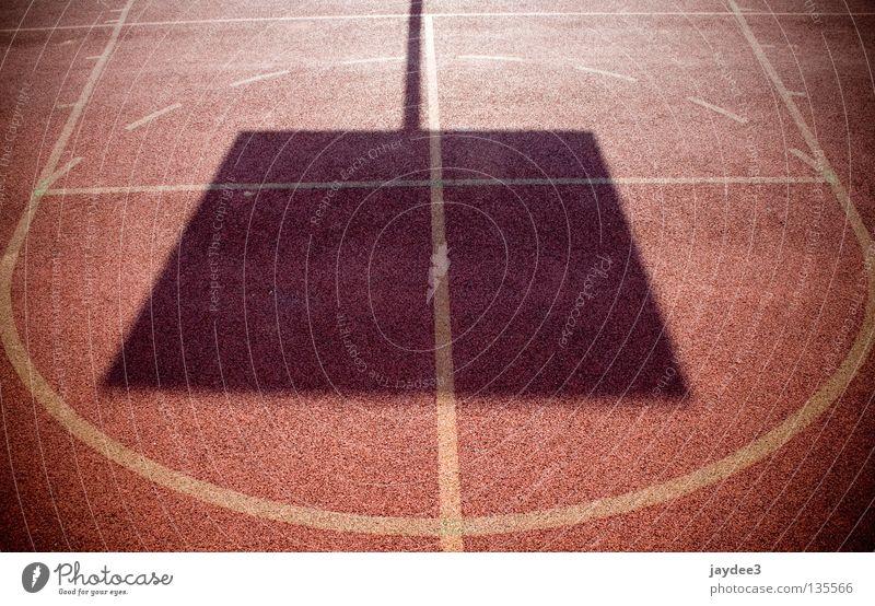 Quadrat im Kreis Sonne rot Sport Linie hell Feld Schilder & Markierungen Schönes Wetter Basketball Ballsport