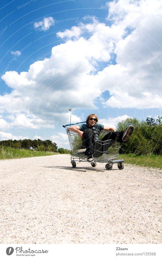 bitte anschieben!!!!!!! Mensch Himmel Mann grün blau Sommer Wolken Einsamkeit Ferne Straße Erholung Wiese Landschaft Stein Wärme Zufriedenheit