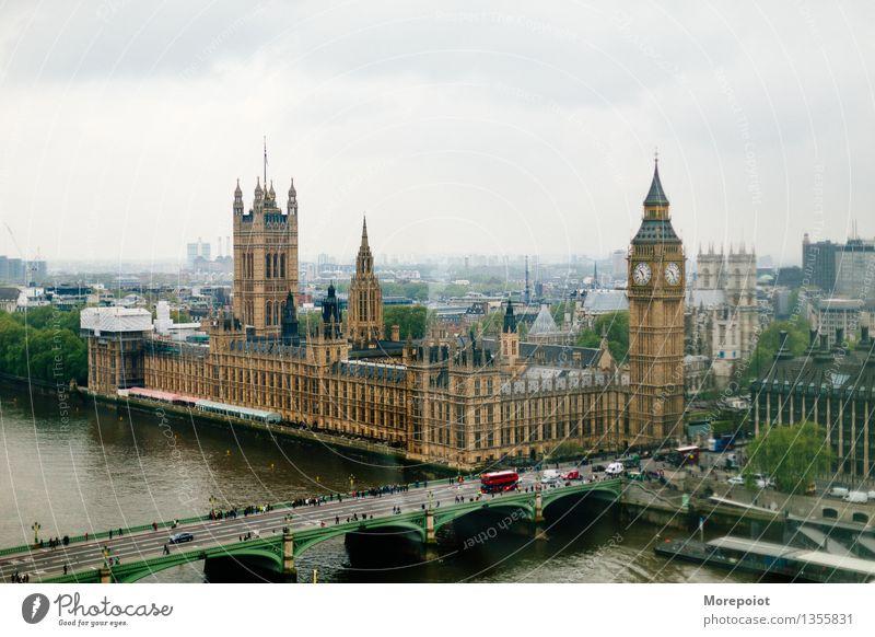 Großer Ben London Big Ben Großbritannien Europa Stadt Hauptstadt Altstadt bevölkert Palast Architektur Sehenswürdigkeit Wahrzeichen Design London Eye Farbfoto