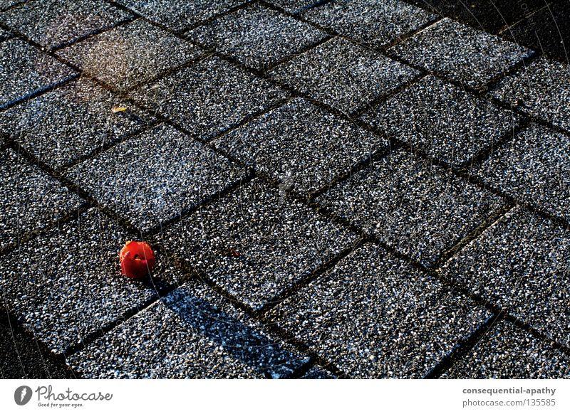 apfelabfallasphalt... rot schwarz grau Frucht Asphalt Müll Apfel Verkehrswege
