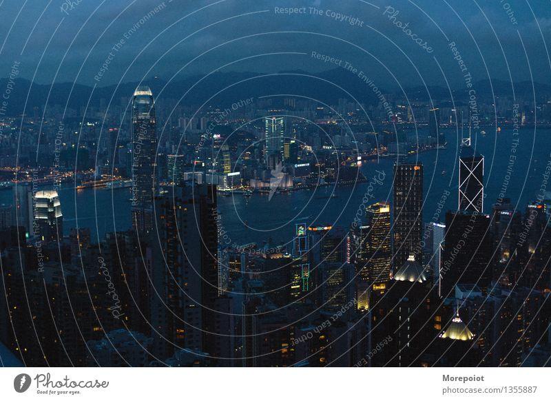 Hongkong China Stadt Hauptstadt Stadtzentrum Skyline überbevölkert Hochhaus Architektur Sehenswürdigkeit Stimmung Nacht Nachthimmel Nachtleben Nachtaufnahme