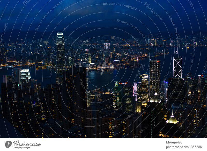 Hongkong China Stadt Stadtzentrum Skyline überbevölkert Hochhaus Architektur Dach Stimmung Nacht Nachtleben Nachthimmel Nachtaufnahme Nachtlicht Nachtstimmung