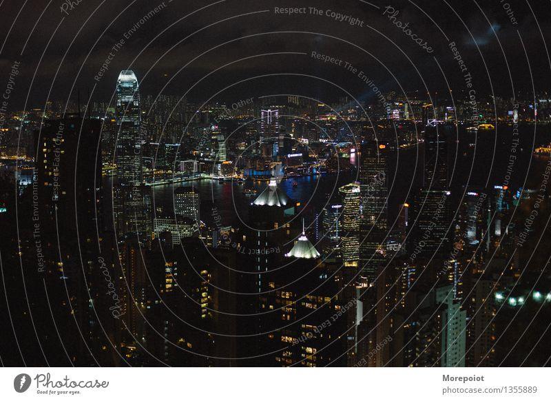 Hongkong China Stadtzentrum Skyline überbevölkert Architektur Sehenswürdigkeit Wahrzeichen modern Panorama (Aussicht) Nacht Nachtleben Nachthimmel Nachtaufnahme