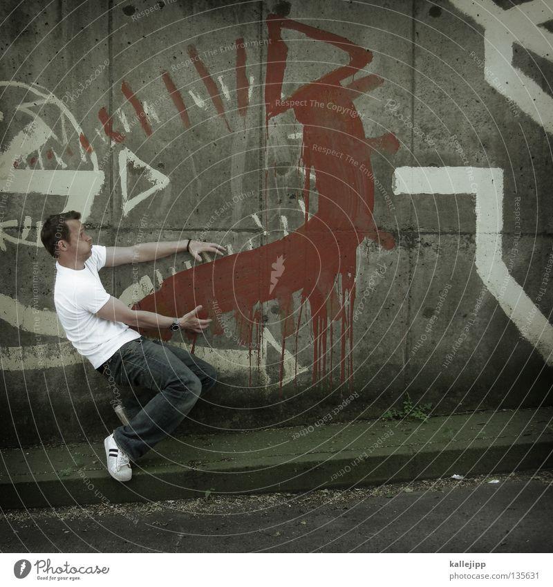 1500_potentzschwäche Mensch Mann Freude Graffiti Gefühle Kunst Dinge Pfeil Richtung Hausschwein Comic Humor Schwanz Schwein Affen schwer