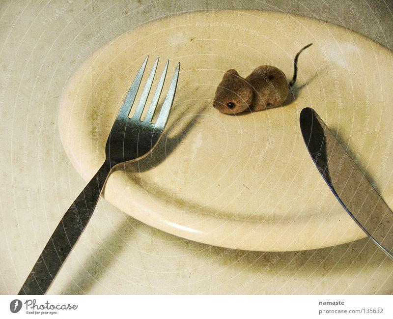 hunger Gefühle grau braun Angst Ernährung Spielzeug Appetit & Hunger Wut Teller Fressen Maus Verzweiflung Fleisch Besteck Surrealismus Messer