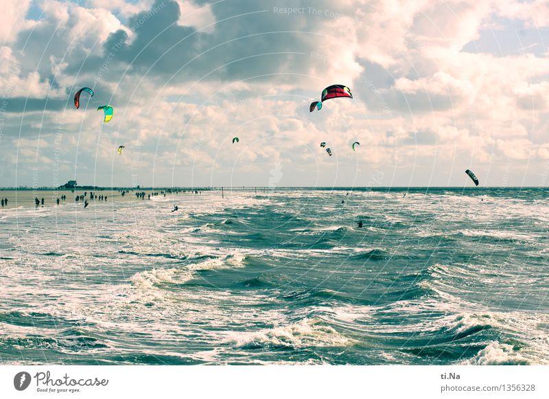 Wind und Weite Himmel Natur Ferien & Urlaub & Reisen blau Wasser weiß Wolken Freude Sport Tourismus Stimmung Horizont Freizeit & Hobby Kraft nass