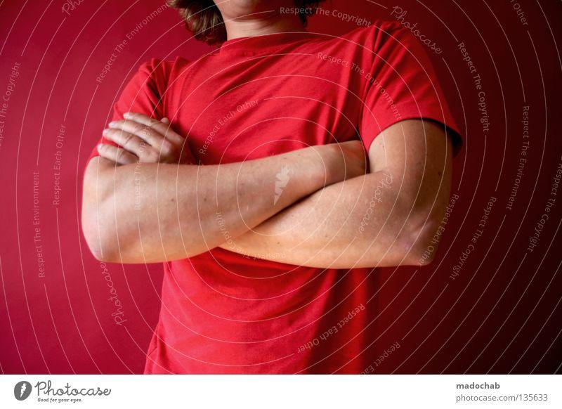 Dein Foto wurde leider nicht bestätigt. Mensch Mann Hand rot Farbe Wärme Tür Kraft Arme maskulin Erfolg stehen Lifestyle Macht Körperhaltung