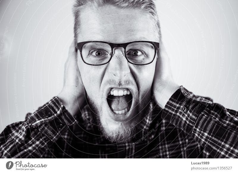 Der Schrei Mensch Jugendliche Mann Junger Mann 18-30 Jahre Erwachsene Business Arbeit & Erwerbstätigkeit maskulin Angst lernen Studium Baustelle Todesangst Beruf Student