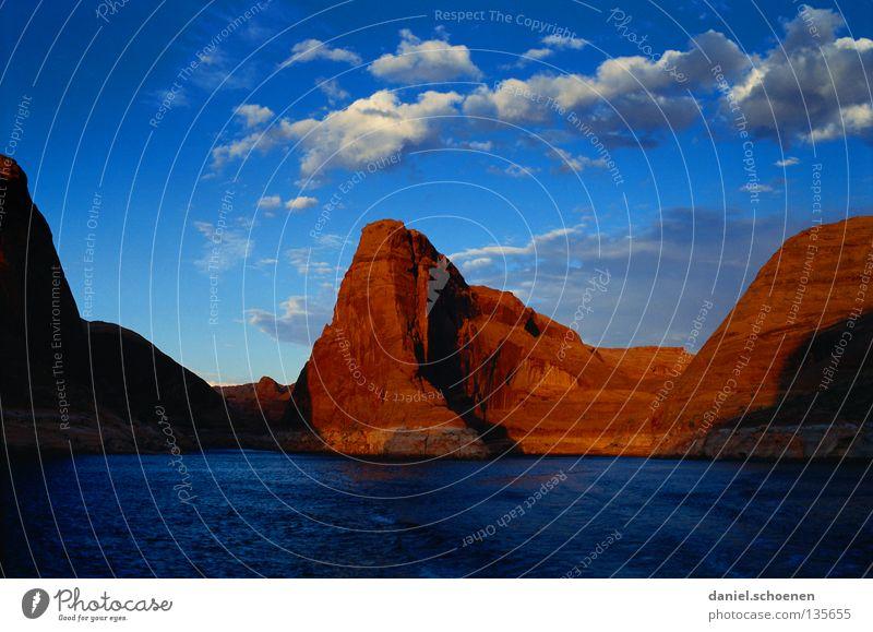 lake powell Himmel Wasser rot Ferien & Urlaub & Reisen Wolken Berge u. Gebirge Stein See Wasserfahrzeug orange Hintergrundbild wandern Felsen USA Klettern