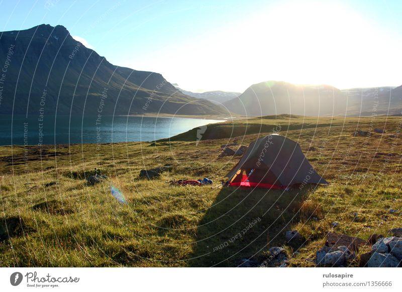 Island #1 Camping Außenaufnahme Ferien & Urlaub & Reisen Abenteuer Ferne Freiheit Sommer Sommerurlaub Meer Insel Berge u. Gebirge wandern Natur Landschaft