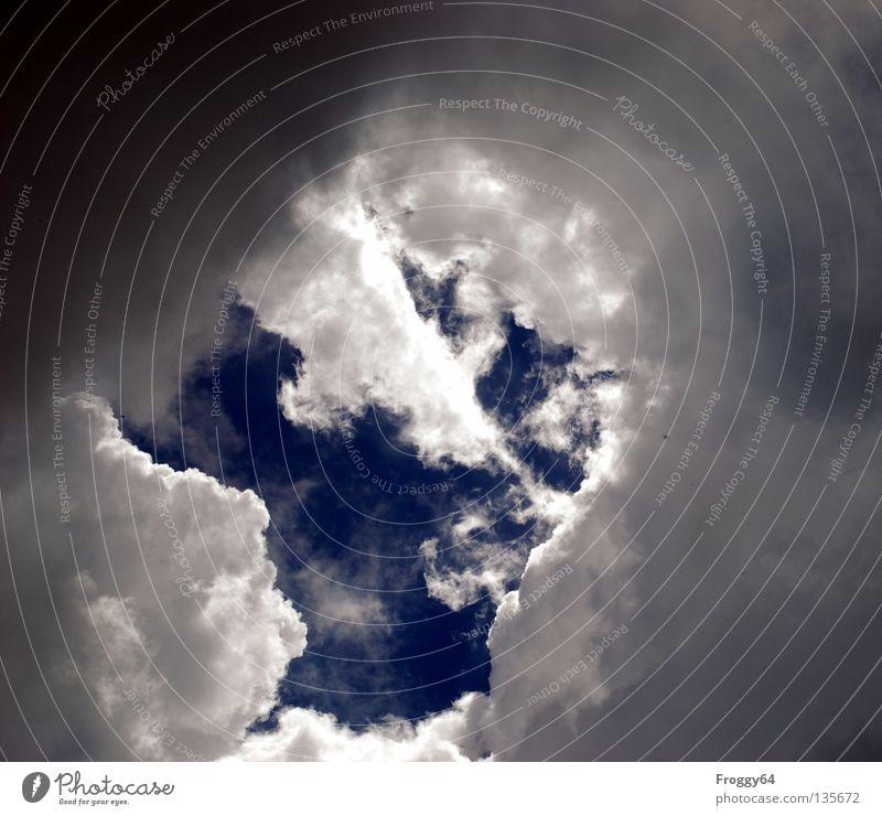 Gewitterstimmung Himmel blau weiß Wolken schwarz Berge u. Gebirge Unwetter Sturm Gewitter Donnern Hagel