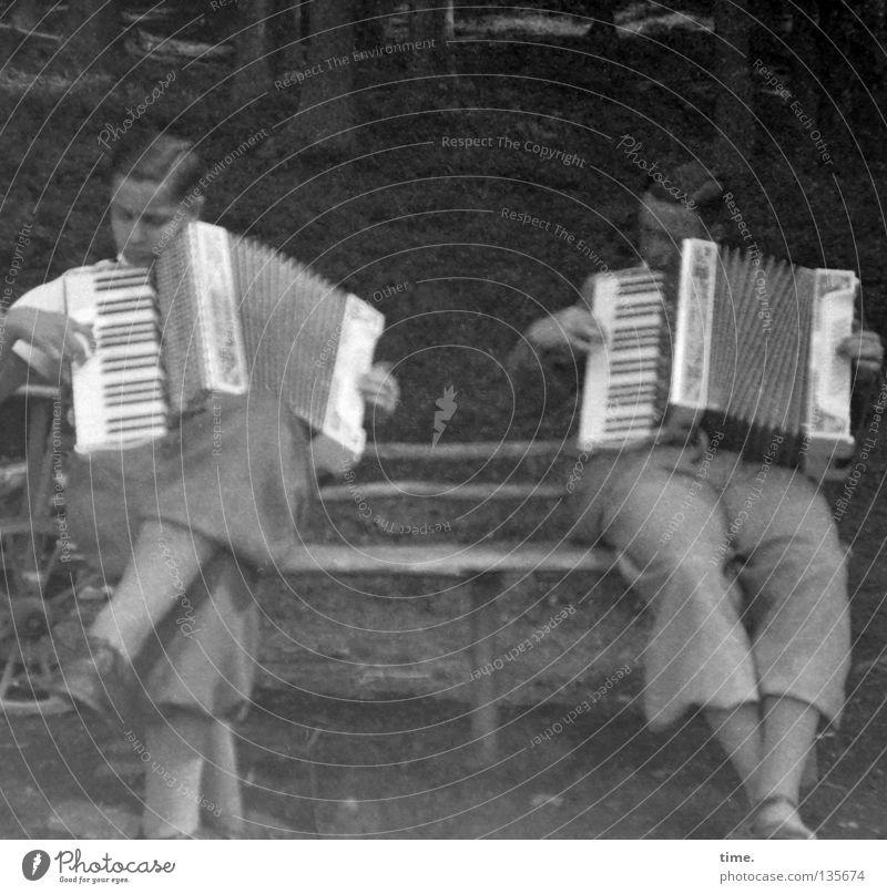 Umsonst & Draußen Musik Mensch maskulin Mann Erwachsene Körper 2 Konzert Open Air Musiker Akkordeon Schönes Wetter Park Bank sitzen Zusammensein historisch
