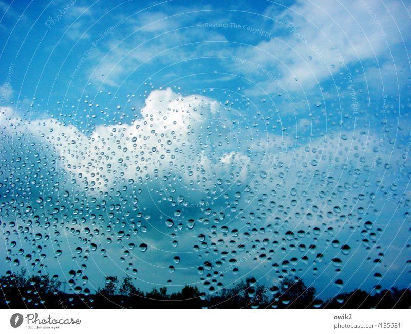 April Fensterscheibe Durchblick Blick durchsichtig nass benetzt Regen Wetterumschwung rollen Wassertropfen Wolken Kumulus himmelblau Horizont Baumkrone