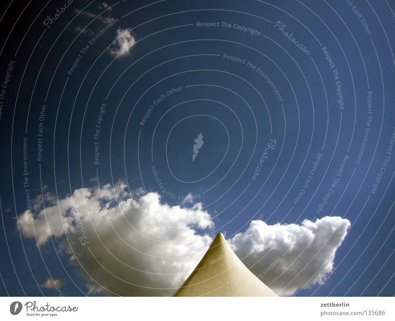 Zelt Himmel Freude Sommer Ferien & Urlaub & Reisen Wolken Dach Spitze Veranstaltung Zelt Campingplatz Kumulus Backstage