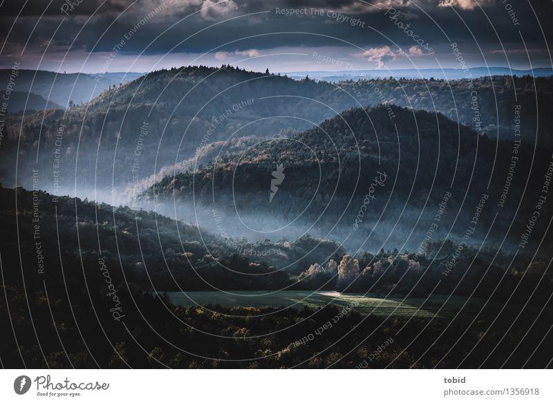 Abenddämmerung Himmel Natur Pflanze Baum Landschaft Wolken Ferne Wald Berge u. Gebirge Herbst Wiese Horizont Nebel Idylle Schönes Wetter Hügel