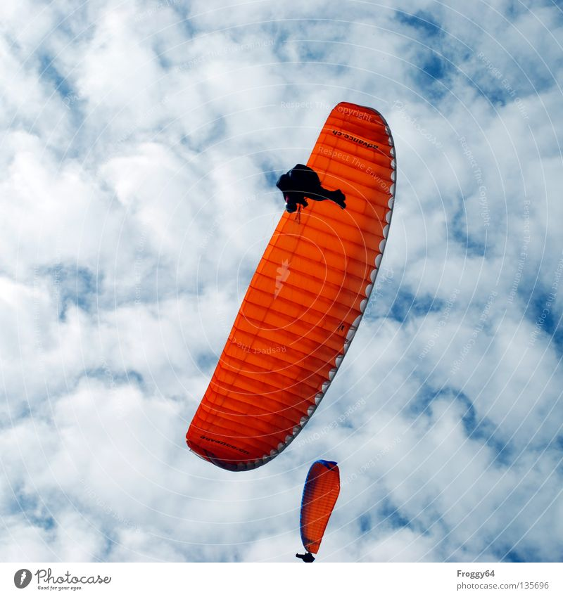 Unter den Wolken! Himmel blau schwarz Berge u. Gebirge Fallschirm Luft orange Wetter Vogel Wind Freizeit & Hobby fliegen Luftverkehr Pilot Gleitschirm