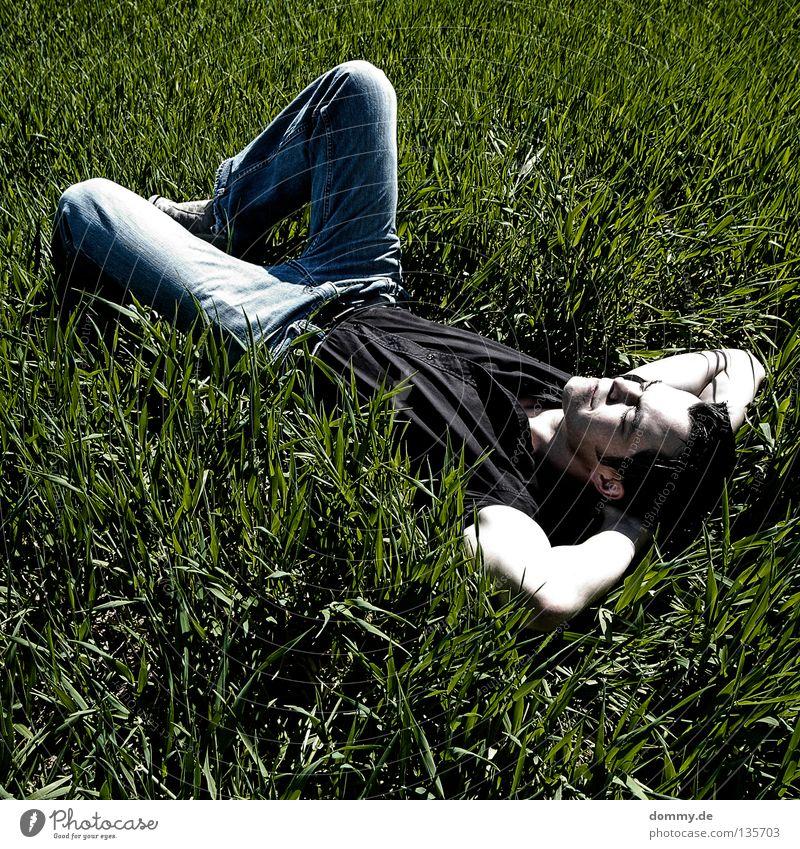 chillout Mann Kerl Gras Feld Sommer Erholung Hose Hemd dunkel grün schlafen Sonnenbad Luft frisch unberührt Jeanshose hell face skin Haut Natur