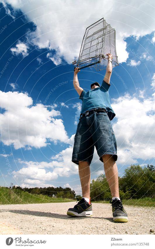ich habe die macht Mensch Himmel Mann grün blau Sommer Wolken Einsamkeit Ferne Straße Erholung Wiese Landschaft Stein Wärme Zufriedenheit