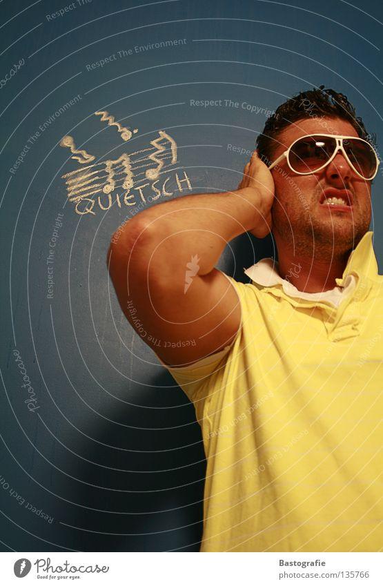 quietsch Straßenkunst falsch Wand Sonnenbrille Quietschen Freude Club Kreide Ton Musik verrückt au Schmerz ohrenweh ohrenschmerz Ohr Kreidezeichnung Comic