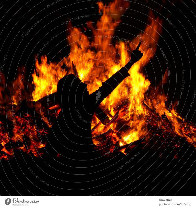 Flammen & Mann als Schattenbild mit ausgestrecktem Zeigefinger rot Winter schwarz gelb Wärme Haare & Frisuren springen Feste & Feiern orange Arme Brand Finger